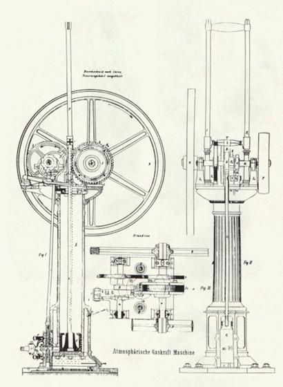 From the German Patent for the Otto-Langen Engine